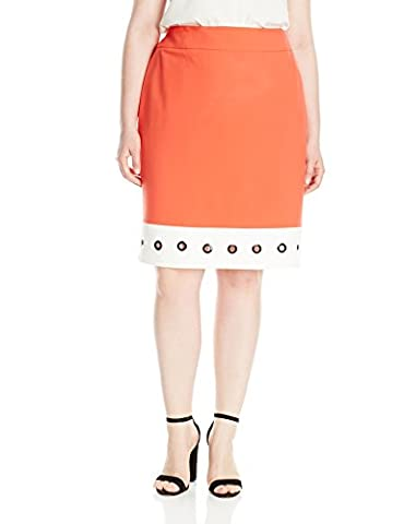 Nine West Women's Plus Size Skirt with White Hem and Grommets, Tangerine/Lily, 18W