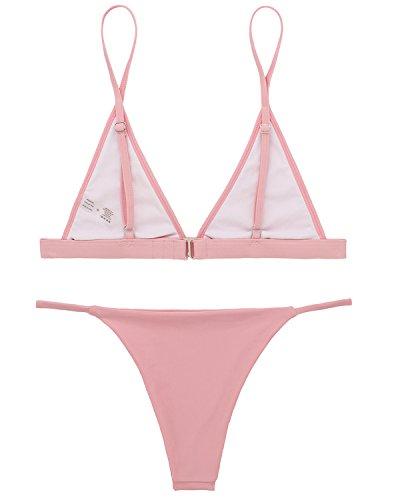 X-HERR Donna Mare Halter Triangolo Micro Oberteil Brasiliana Tanga Bikini Costume da Bagno Rosa