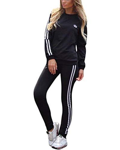 JIAJIA YL Damen Mode Streifen Trainingsanzug Frauen Lange Ärmel Sweatshirt + Lange Hose Sportswear 2 Stück Set Sport Yoga Outfit (Schwarz, XL) Lange Ärmel Sweatshirt