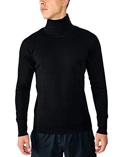 Midweight Wolle Lange Unterwäsche (WoolX Herren Rollkragen Shirt-Midweight Merino Wolle Base Layer, Herren, schwarz)