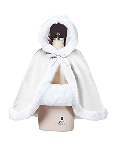 BEAUTELICATE Women's Bridal Cape Wedding Cloak With Fur Hip-length(Ivory)