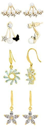 Die Jewelbox Blume Sicherheitsaugen Kristall American Diamant Perle 18K vergoldet Bass Ohrstecker Combo für Frauen