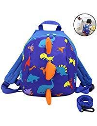 Amamcy Kinder Cartoon-Rucksack 3D Mini Dinosaurier Schultasche Spielzeug Snack Daypack Schultertasche mit Leine für Jungen Mädchen Alter 1-6 blau blau Einheitsgröße
