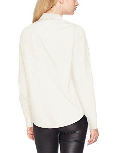 VERO MODA Damen Bluse Vmleah Badge Ls Shirt Weiß (Snow White Detail:Solid)