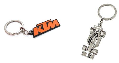 F1 Ferrari Car Shape Bike Keychain (Silver) & KTM Metal Keychain (Orange)|COMBO|Pack Of 2