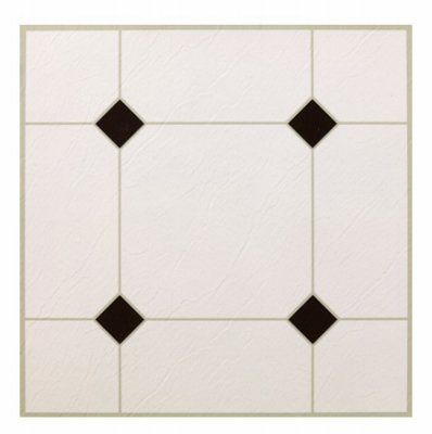 MAX KD0309 5Th Avenue Black & White Peel & Stick Vinyl Floor Tile, 12 x 12 by Max (12 X 12 Vinyl Floor Tile)