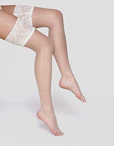Charnos Damen Halterlose Strümpfe 1PP 10 Denier Bridal Lace Hold Up, 10 DEN, Off-White (Ivory), M