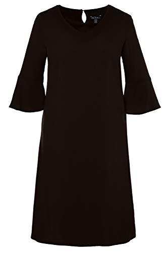 Ulla Popken Damen große Größen bis 62+ | Kleid aus Krepp | Volant am 3/4-Ärmel | Gerundeter V-Ausschnitt | Leichte A-Line | schwarz 50 716293 10-50 - Schwarze Krepp-kleid