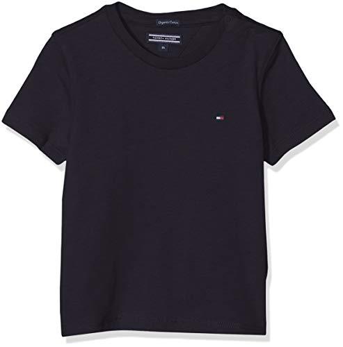 Tommy hilfiger boys basic cn knit s/s t-shirt, blu (sky captain 420), 116 (taglia produttore: 6) bambino
