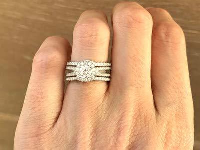 Addamas - fede nuziale da donna in oro rosa massiccio 14 k 18 k, taglio rotondo con diamante da 1,40 carati e oro rosa 14 ct, 13,5, cod. p-lrn-1143-rg-14k-n(1/2)