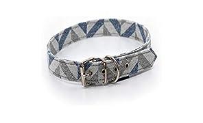 Collar de perro XS respetuoso con el medio ambiente, material reciclado sostenible collar para mascotas (azul gris Chevron, tamaño 30 (tamaño del cuello 15 cm-21 cm)