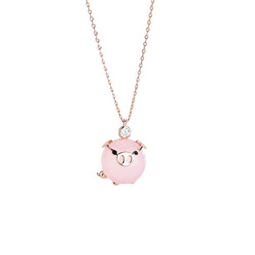 Vaycally 2019 Neue glückliche Schwein Halskette Frau niedlichen Kristall Mädchen Geschenk Rose Gold süße Elegante Wilde Kostüm Charme Schlüsselbein Anhänger