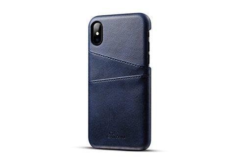 TACOO iPhone X Leder Case, Super Slim Soft Schutz Zwei Kreditkarte Slots Ultra Dünn Handy Back Cover für Apple iPhone 102017, Blau Samsung Super-slim
