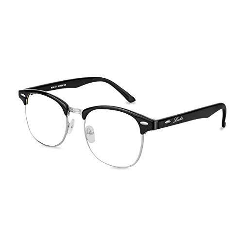 H.Yue Blue Light Blocking Glasses,UV400 Transparent Lens,Phone Computer Reading Glasses,Anti Eyestrain/Anti Ray,Sleep Better for Women/Men (Light Black) LI8055 (Matte Black)