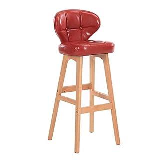 Fyyxxhh Barhocker Küchentheke Stuhl Moderne helle Leder Barhocker, Massivholz Freizeit Sitz Zähler Küche Wohnzimmer Massivholz Stuhl Beine, Multi-Color, 78CM Retro Heimhocker (Color : Red)