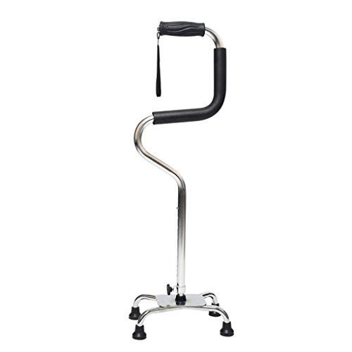 Erwachsene Krücken Quad Base Cane Sitzen, um zu Stehen Walker Leichte, robuste Mobilität Einstellbare Gehstock 4 Fuß Base TPR Griffe Senioren & Handicap (Color : Silver) -