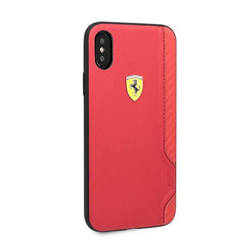 CG Mobile Ferrari iPhone X & iPhone XS Case - Red Handy-Gummi-Finish mit Carbon-Faser-Edging | Leicht zugängliche Ports | Offiziell lizensiert.