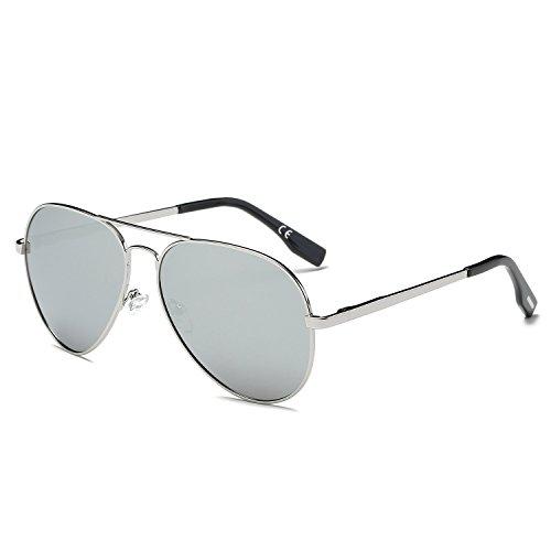 Amztm classico moda polarizzate aviatore occhiali da sole da donna e uomo ponte doppio metallo telaio riflessivo rispecchiato revo argento lente