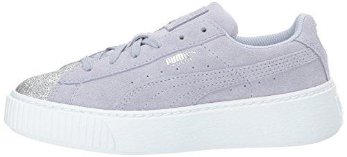 PUMA Kids  Suede Platform Glam Sneaker  Silver-Icelandic Blue  2 5 M US Little Kid