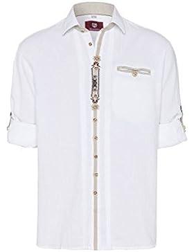 OS Trachten Moser Trachten Trachtenhemd Langarm Weiß mit Applikationen Viktor 112613 von, Material Baumwolle,...