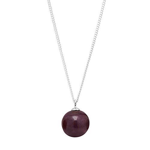 Louise Kragh Damen Halskette Silber Pearl (Purple): Mit rundem Perlen Anhänger klassisch und elegant 925 Silber hochglänzend - NPEA0102PURs