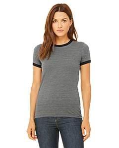 Ladies' Jersey Short-Sleeve Ringer T-Shirt DEEP HTHR/ BLACK 2XL
