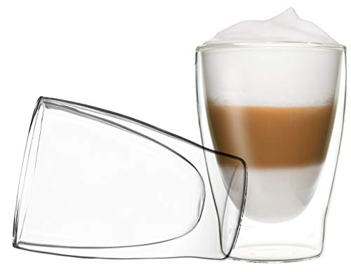DUOS 2X 310ml Doppelwand Latte Macchiato Thermogläser - Set mit Schwebe-Effekt, auch für Tee, Eistee, Säfte, Wasser, Cola, Cocktails geeignet, by Feelino ...