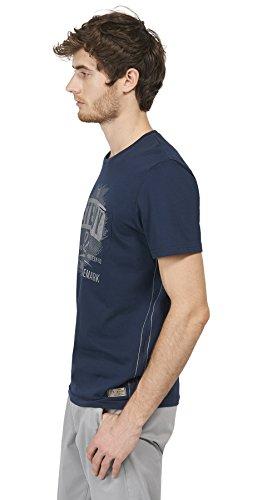 TOM TAILOR Herren T-Shirt mit Vintage-Print blau (black iris blue 6740)