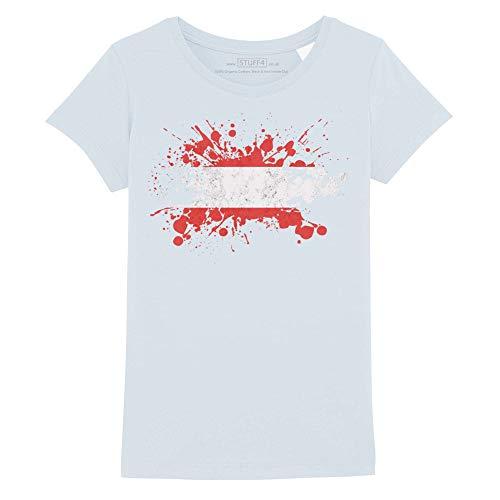 Stuff4® Mädchen/Alter 7-8 (122-128cm)/Hellblau/Rundhals T-Shirt/Österreich Flagge Splat