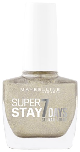 Maybelline New York Make-Up Super Stay Nailpolish Forever Strong 7 Days Finish Gel Nagellack Gold all Night / Farblack mit ultra starkem Halt ohne UV Lampe in glitzerndem Gold, 1 x 10 ml (Make-up Forever Uv)