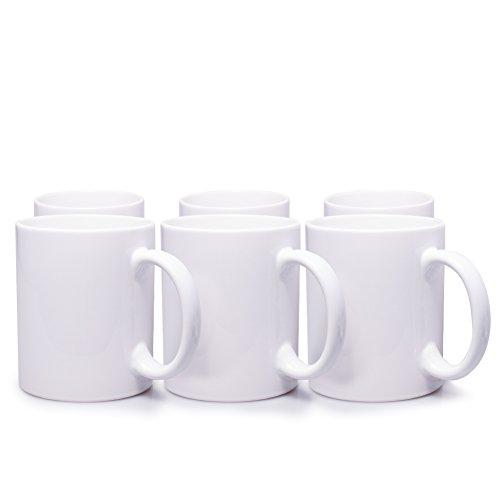 6er Set weiße Keramik Kaffeetassen ohne Druck - zum bemalen und basteln geeignet - Simple Kaffeebecher zum Personalisieren - 300ml - Tassen/Becher/Pott für Kaffee, Tee und mehr Weiße Becher