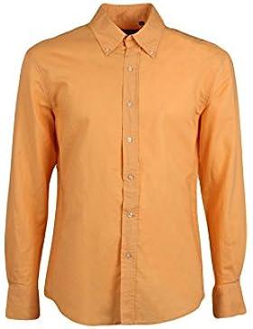 Camicia misto lino arancio