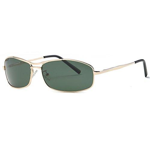 kimorn Polarisierte Sonnenbrille Herren Rechteckig Metall Rahmen Unisex Gläser K0559 (Gold&G15)