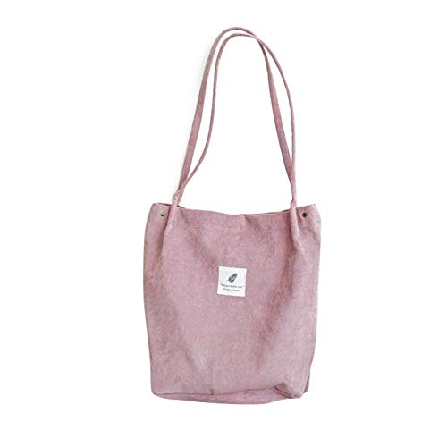 Alextry Damen Umhängetasche aus Cord, faltbar, wiederverwendbar, für Einkauf, Strand Rose