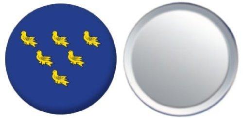 Miroir insigne de bouton Angleterre Sussex drapeau - 58mm