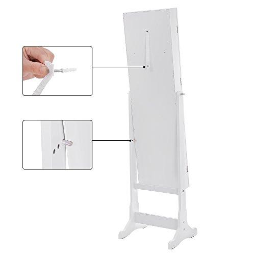 Songmics LED Beleuchtung Schmuckschrank spiegel mit 5 Ablagen und 2 kleine Schubladen abschließbar JBC94W - 6