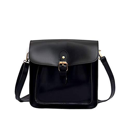 Klappe Schwarz Handtaschen (Bfmyxgs Fashion Messenger Bags für Frauen Mädchen Weiche quadratische Feste Abdeckung Verschluss PU mit rot braun schwarz gelb Klappe Tasche kleine Tasche Handtasche Schultertasche Wild Simple)