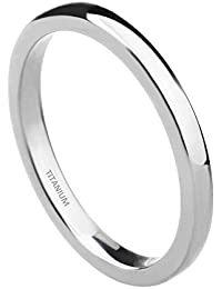 Anillo de boda para mujer, de titanio pulido, 2 mm de ancho