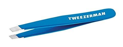 Tweezerman Studio Collection mini Slant Pinzette mit abgeschrägter Spitze zur Haarentfernung und perfekte Augenbrauen, Bahama Blue