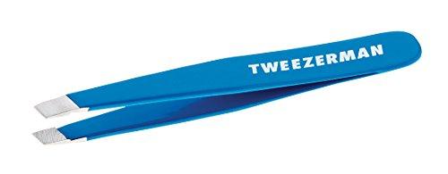 Tweezerman Mini Slant Tweezer Pinzette abgeschrägte Spitze rostfreier Edelstahl Augenbrauen Haarentfernung bahama blue