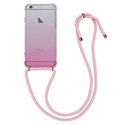 kwmobile Apple iPhone 6 / 6S Hülle - mit Kordel zum Umhängen - Silikon Handy Schutzhülle für Apple iPhone 6 / 6S - Zwei Farben Design Pink Transparent