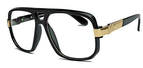 amashades Vintage Nerdies Kultige 70er 80er Jahre Brille Sonnenbrille o. Nerdbrille Retro Kassengestell Hornbrille HN14 (Black/Clear Lens)