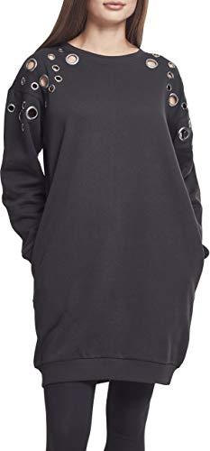 Urban Classics Damen Ladies Sweat Eyelet Dress Kleid, Schwarz (Black 00007), Large