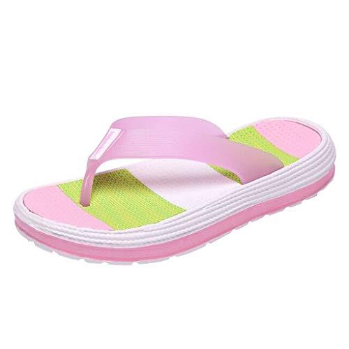 TTLOVE Damen Casual Regenbogen Flip-Flops,Weiche Bottom Beach Schuhe Flache Klippzehe Hausschuhe,Shower Dusch-& Badeschuhe - Diamant Flip-flop-sandale