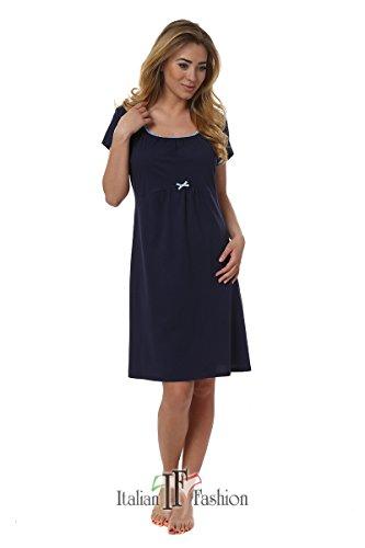 Italian fashion if premaman camicia da notte per donna dagna 0114 (blu scuro, l)