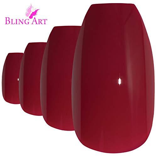 Bling Art Falsche Nägel Rot Poliert Ballerina Sarg 24 Kunstnägel Lange Tipps mit Kleber