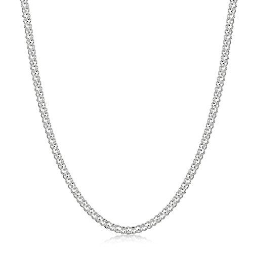 Amberta® Bijoux - Collier - Chaîne Argent 925/1000 - Maille Popcorn - Largeur 2.5 mm - Longueur 40 45 50 55 60 cm (60cm)