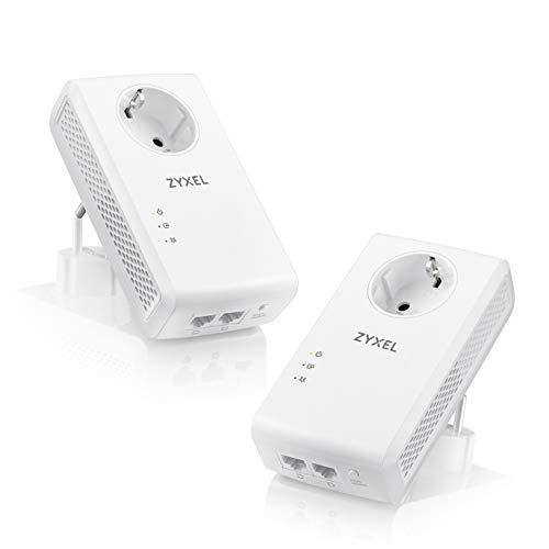 Zyxel 1800 Mbit/s Pass-Through Powerline-Adapter mit Gigabit Ethernet und zwei Ports, kompatibel zu allen gängigen Powerline Adaptern, ideal für NAS-Anwendungen und HD-Streaming,  2er Pack [PLA5456]