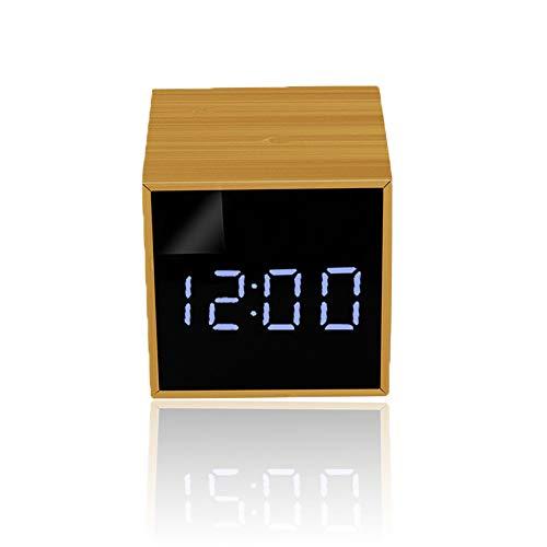 LICHUXIN multifunktionale Vorsprung Wetterstation Spiegel Uhr aus Holz Produkt ist nur schwer 150g Sensor displaymoon 6.2 * 6.2 * 6.3 cm Display und Wecker in ABS-Material