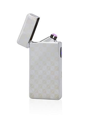 TESLA Lighter T13 Lichtbogen Feuerzeug, Plasma Double-Arc, elektronisch wiederaufladbar, aufladbar mit Strom per USB, ohne Gas und Benzin, mit Ladekabel, in Edler Geschenkverpackung, Silber Kariert